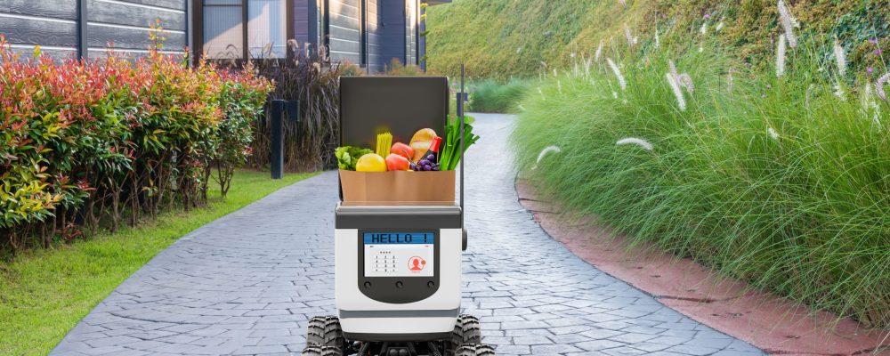 Autonomous robots deliver food to customers, Smart artificial intelligence technology concept